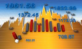 Financial charts and graphs. Business financial bar and charts Royalty Free Stock Photo