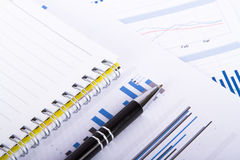 Financial Charts and Graphs on Business Table Royalty Free Stock Image
