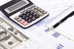 Financial Charts and Graphs on Business Table Royalty Free Stock Images