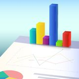 Financial charts and graphs. 3D design of profit bar. Vector illustration. Info graphic Royalty Free Stock Photo