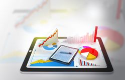 Financial charts and graphs. 3d illustration royalty free stock photo