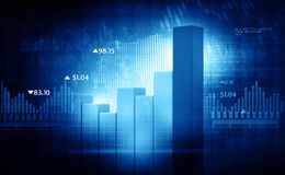 Financial charts and graphs. 3d render of Financial charts and graphs Royalty Free Stock Photo