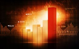 Financial charts and graphs. 3d render of Financial charts and graphs Stock Photography