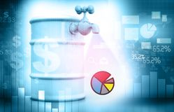 Financial charts and graphs. Concept. Petrol barrel with tap. 3d illustration royalty free stock images