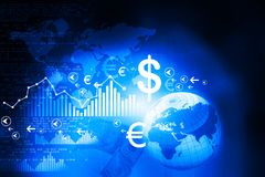 Financial charts and graphs. With digital world Stock Photos