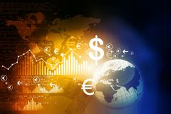 Financial charts and graphs. With digital world Stock Photography