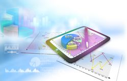Financial charts and graphs. With digital world. 3d illustration Royalty Free Stock Image
