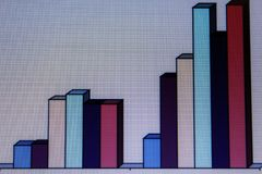 Financial charts and graphs on a large screen Stock Image