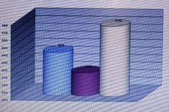 Financial charts and graphs on a large screen Stock Photo