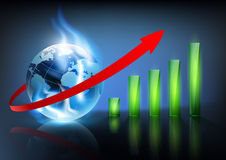 Financial charts. And planet earth with a blue flame Royalty Free Stock Image