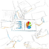 Financial charts sketch business people team work. Group discussing diagram, businesspeople meeting sitting at desk office point finger graph document vector Royalty Free Stock Photos