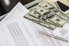 Financial charts on the table Stock Photo