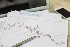 Financial charts on the table Royalty Free Stock Images