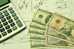 Financial charts and US Dollar #2 Royalty Free Stock Photo