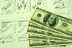 Financial charts and US Dollar #3. US Dollar together with various financial charts Royalty Free Stock Photography