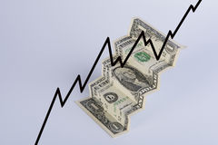 Financial climbing. Of dollar with graphic Stock Image