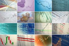 Financial collage Stock Images