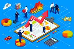 Financial company account administration concept. Financial administration concept. Financial company account with documents. Isometric vector design Stock Photo