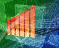 Financial computing. Deskto computer with bar chart Royalty Free Stock Photo