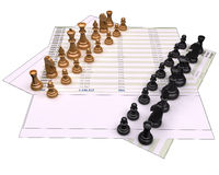 Financial concept. 3d chess pieces on financial files and isolated on white background.  the paper and the pieces have a 2px black border for easy and precise Stock Image