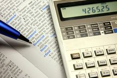 Financial concept. Mortgage calculations concept, closeup shot Stock Photos