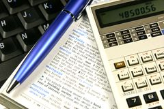 Financial concept. Mortgage calculations concept, closeup shot stock photo