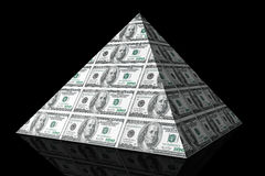 Financial concept. Abstract money pyramid. On a black background Stock Images