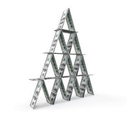 Financial concept. Abstract money pyramid. On a white background Stock Photography