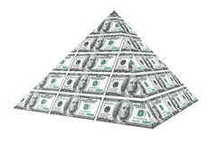Financial concept. Abstract money pyramid. On a white background Royalty Free Stock Photography