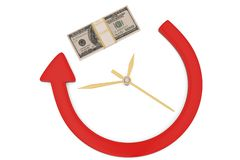 Financial concept arrow clock with dollar heap isolated on white background 3D illustration.  vector illustration