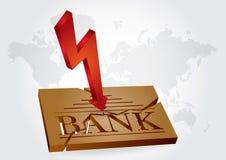Financial concept - bank failures. Abstract illustration with broken bank plate Stock Photos