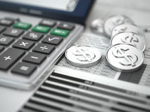 Financial concept.  Calculator, coins and graph. 3d Royalty Free Stock Photos