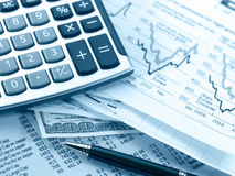 Financial concept. Calculator and pen. Royalty Free Stock Photo