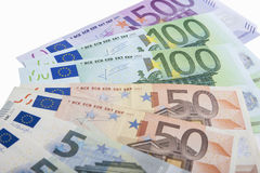 Financial Concept: Close-up Pattern Made of Euro  Currency Bankn Royalty Free Stock Photos