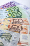 Financial Concept: Close-up Pattern Made of Euro  Currency Bankn Stock Photo