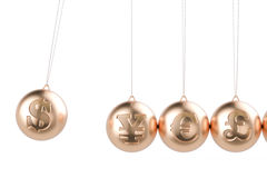 Financial concept, currency symbols pendulum. 3D rendering. On white background Stock Photo