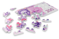 Financial concept. 3d illustration of ukrainian grivna puzzle. Financial concept Royalty Free Stock Photography