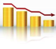 Financial concept, declining graph Stock Photos