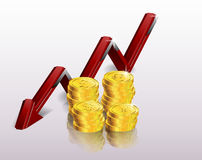 Financial concept, declining graph. Illustration of Financial concept, declining graph Stock Photos