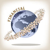 Financial concept. Dollar money coin moving around the world, financial concept Stock Photography