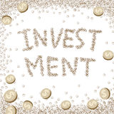 Financial concept. Dollar money coin moving on white background with investment word,financial concept Royalty Free Stock Image