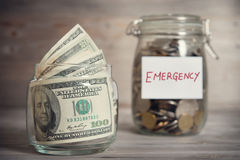Financial concept with emergency label. Stock Photo