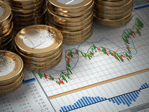 Financial concept.  Euro coins on graph. Royalty Free Stock Images