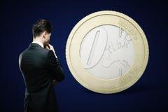 Financial concept euro dark Royalty Free Stock Image