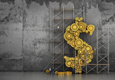 Financial concept. The gears mechanism in form of dollar sign in process of building with builders on concrete background. 3d illustration Stock Images