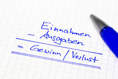 Financial concept in german language for earnings, income and tu Royalty Free Stock Photo