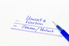 Financial concept in german language for earnings, income and tu Royalty Free Stock Photos
