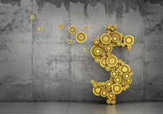 Financial concept. Gold mechanism of gears in form of dollar sign with flying gear on a concrete background. 3d illustration Royalty Free Stock Images