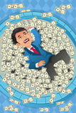 Financial concept of a happy businessman in a pool. A vector illustration of a financial concept of a happy businessman swimming in a pool of money Royalty Free Stock Photography