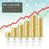 Financial concept infographic template design. With coin element Royalty Free Stock Image